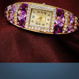Purple Flowery Watch