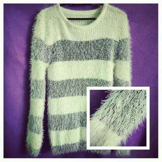 Fashionable white with black stripes sweater bought from Korea (new; never been used)
