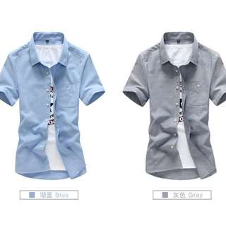 五色-韓版立領素色短袖修身襯衫 (有大尺碼)