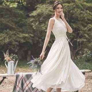 仙女顯瘦中長款雪紡連衣裙