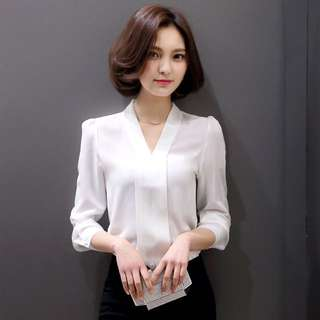 V領純色修身長袖雪紡衫 OL職業襯衫