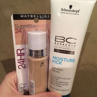 Maybelline SuperStay 24 in 20 Sand Beige plus Schwarzkopf Moisture Defining Cream