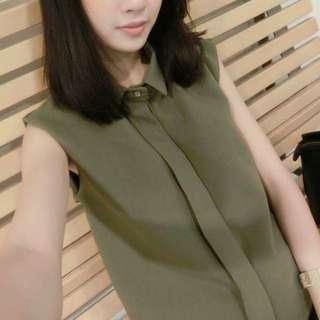 墨綠藏扣質感襯衫背心