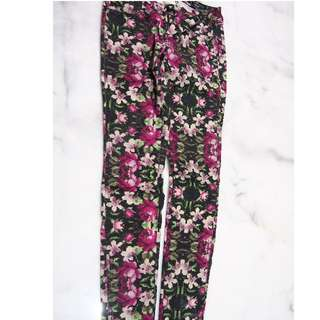 Railed legging fit flower pixelated patterned jeans - size 10