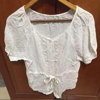 🚚 棉質蕾絲綁帶上衣