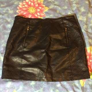 Black Dotti Leather Skirt