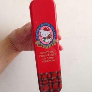 絕版 Kitty 早期 1993年 日本製 復古鐵盒 鉛筆盒 筆袋