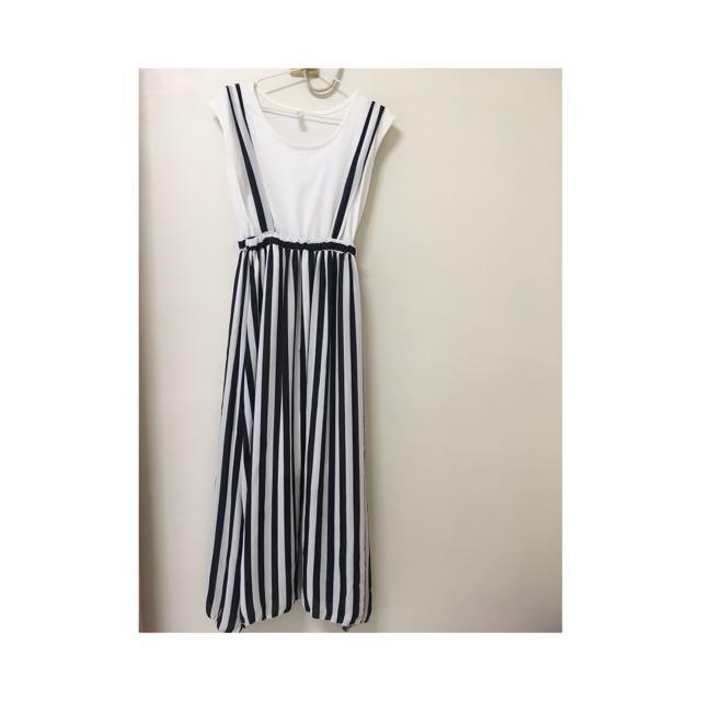 個性吊帶裙(假兩件式)
