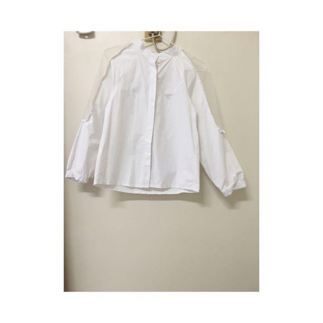 簍空薄紗混搭白襯衫