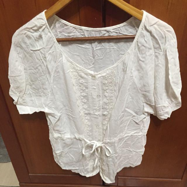 棉質蕾絲綁帶上衣
