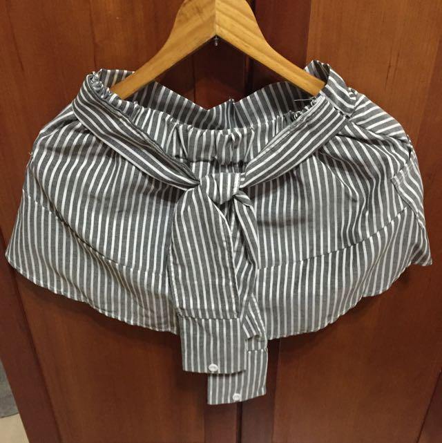 條紋西裝袖綁帶褲裙