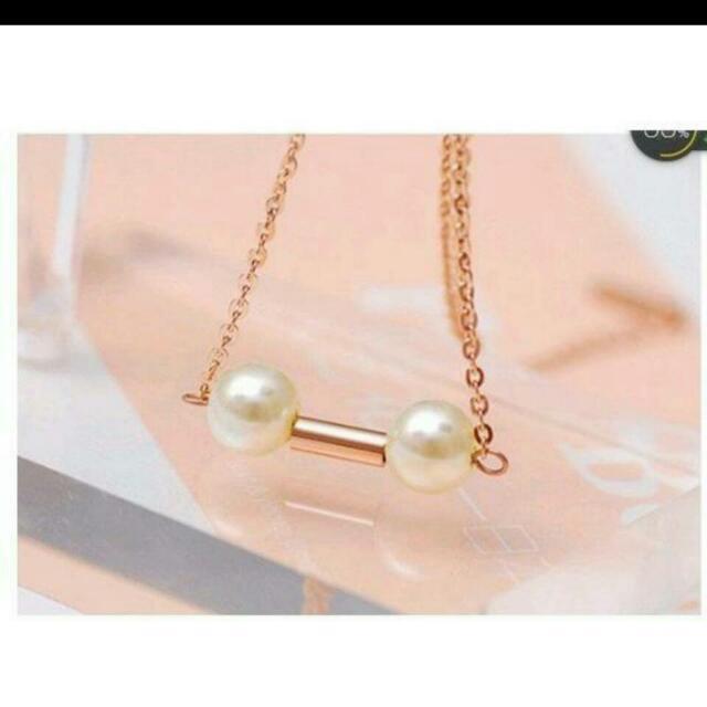 韓國流行飾品 雙珠項鍊