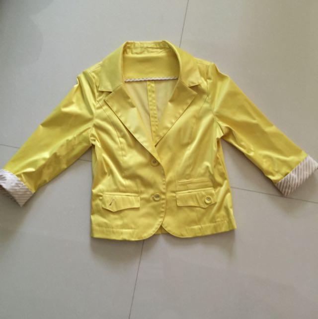 荷雅婷 限量 黃色西裝外套 學院 Zara H&M