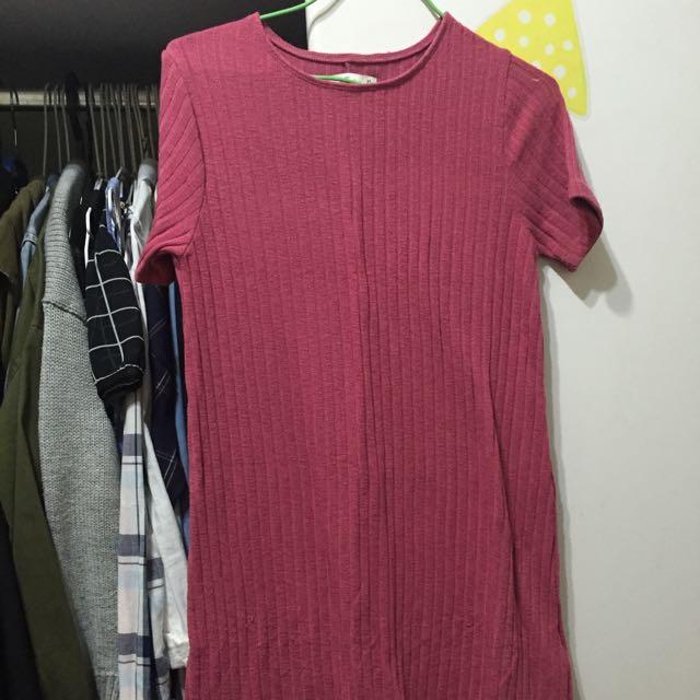 A&f 俏麗粉紅針織洋裝