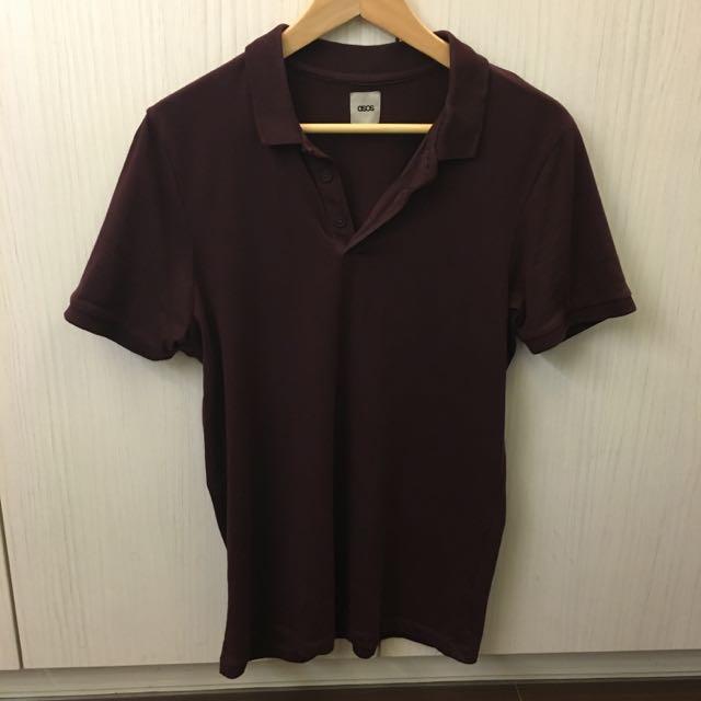 Asos深紅色 Polo Shirt Polo衫