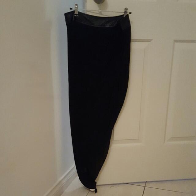 Asymmetrical Black Bardot Skirt
