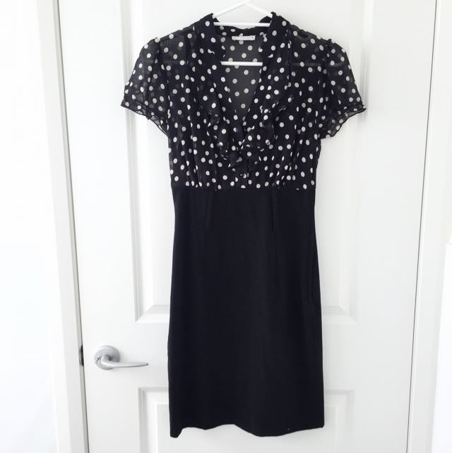 Black And White Dotted Work Dress