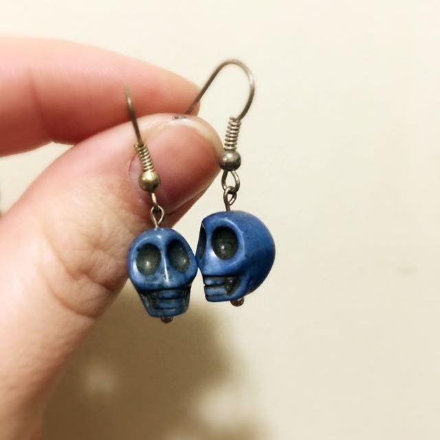 Blue Skull Stone Earring