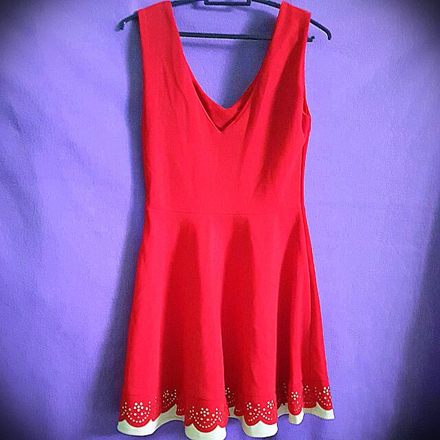 Chic Red Dress With Pleats bought from Singapore (never used)