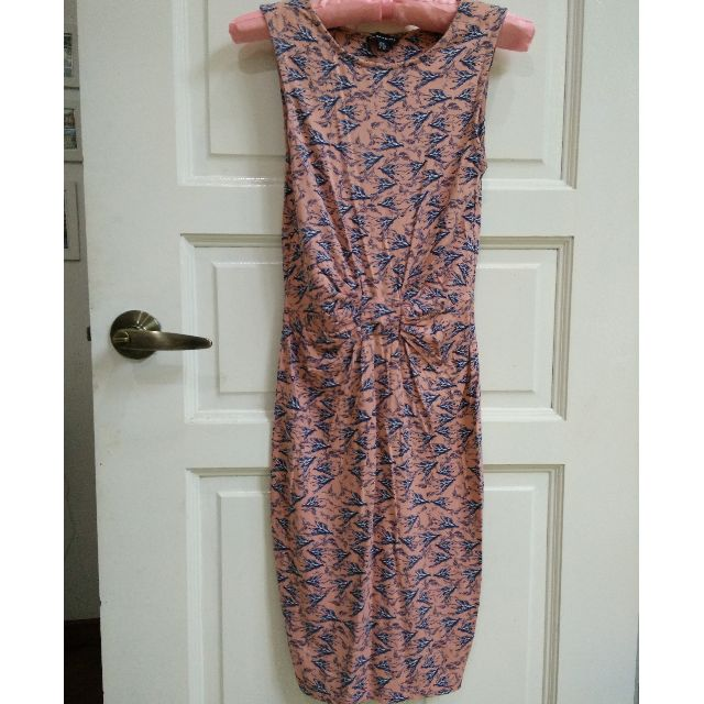 (RESERVED) Gorgeous Stretchy Jersey Bird Print Pink Warehouse Dress XS