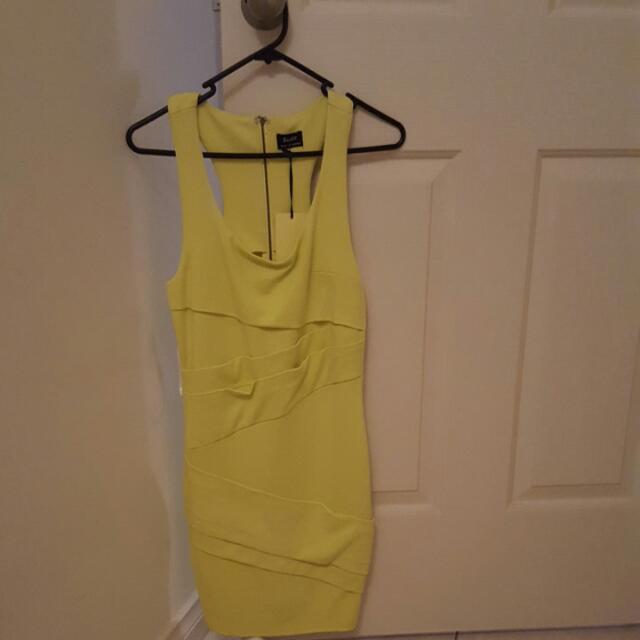 Lemon Yellow Sleeveless Bandage Bardot Dress