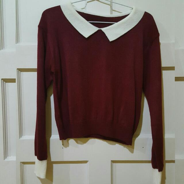 Maroon Cropped Sweater