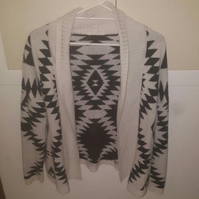 Medium Black And White Cardigan