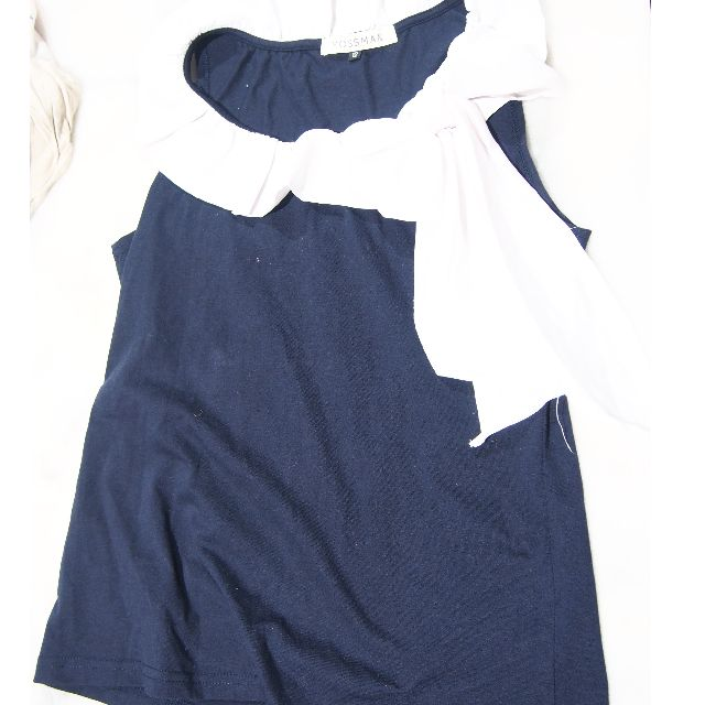 Mossman Navy Blue Top with white collar size 12