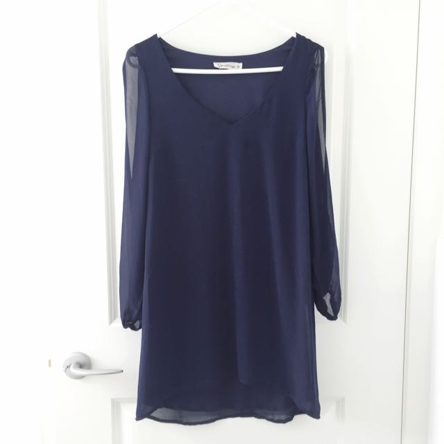 Navy Blue Long Gap Sleeve Dress