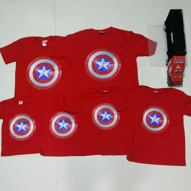 NDP 2016 Captain America Red Logo Family Size Tshirt
