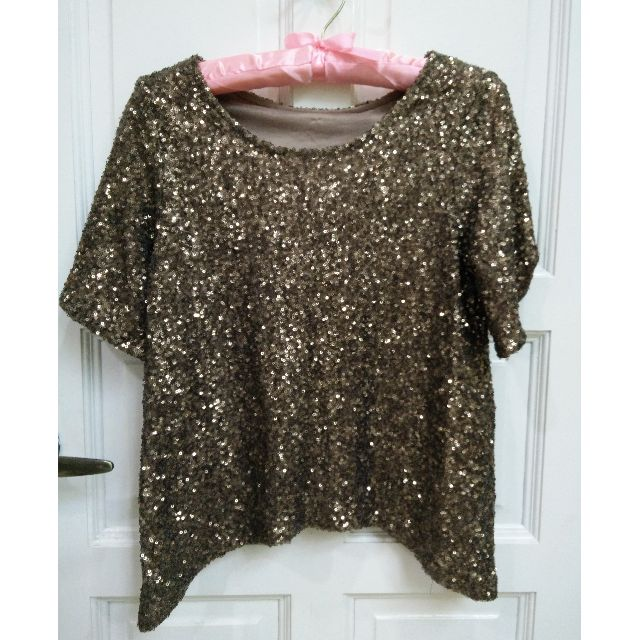 (RESERVED) Pale Gold 2 Way Sequin Top