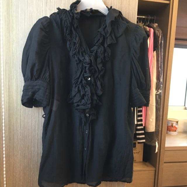 Rosebullet黑色輕紡襯衫#好秋服