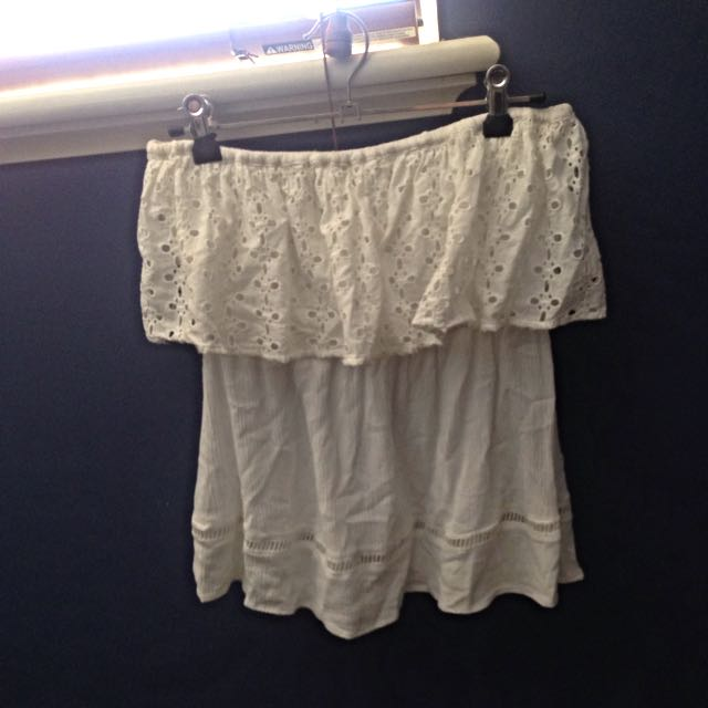 Rusty White Strapless Top