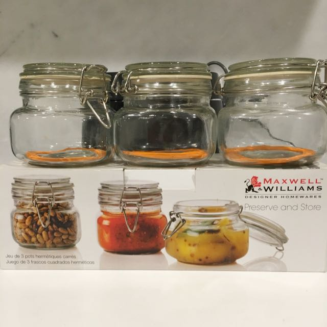 Set Of 3 Square Airtight Jars