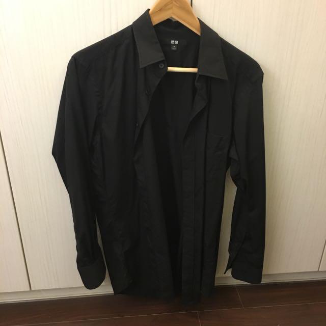 Uniqlo 黑色素色襯衫