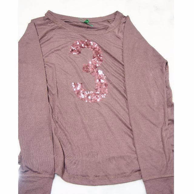 """United Colours of Benneton Dark Purple Brown Long Sleeve T-Shirt with glitter print """"3"""" NEW XS size"""