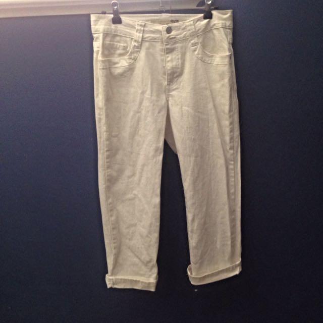 White Boyfriend/slouch Jeans