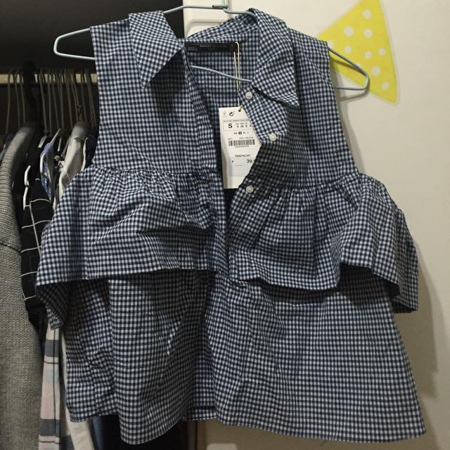 全新Zara 深藍色格子襯衫背心