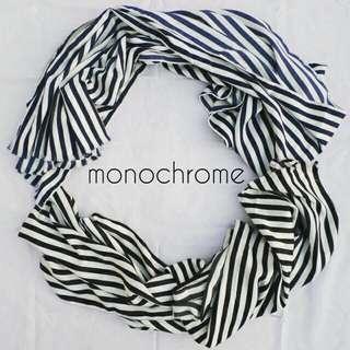 Pashmina Navy Monochrome Stripe