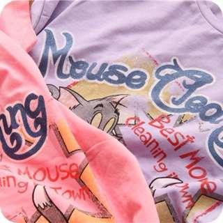 美式經典卡通湯姆貓與傑利鼠仿舊塗鴉印刷棉TEE