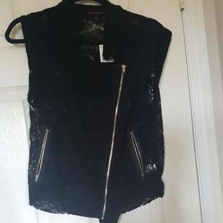 Lace Material Girl Zipped Vest