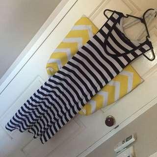 Dark Blue And White Striped Maxi Dress XS