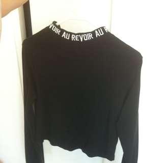 """Au Revoir"" Collar Crop Long Sleeve"