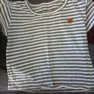 Bear Striped Crop Shirt (size m)