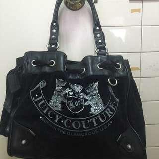 Juicy Couture黑色法蘭絨手拿包