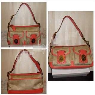 Coach Legacy Nylon Signature Shoulder Bag Khaki/coral/gold Tone Hrdware