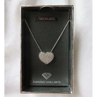 Heart-shaped Silver Necklace with Diamond Simulants