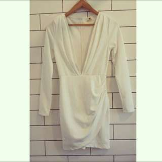 Morning Mist White Mini Plunge Dress