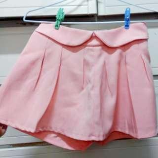 粉橘色造型短褲裙