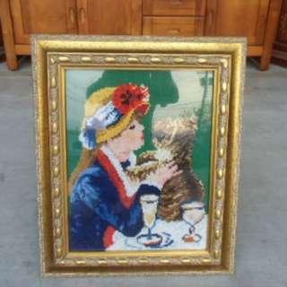 賣場全館出清特價中*編織毛線掛畫 收藏 裝飾 壁掛 辦公室裝飾 山水畫 客廳裝飾 藝術品*A0571